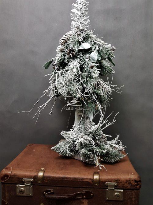 choinka stroik świąteczny nowoczesna dekoracja świąteczna bożonarodzeniowa choinka na pniu